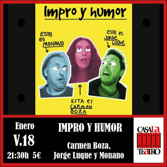 IMPRO Y HUMOR. TRIPARTITO DE IMPROVISACIÓN con Carmen Bona y Jorge Luque y Monano